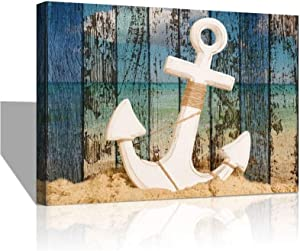 Ocean Theme Anchor Wall Art Blue Sea Beach Seascape Prints on Canvas Paintings Home Decor Abstract Artwork Living Room Bathroom Decor