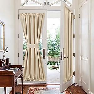 PONY DANCE Door Curtain Panels - Rod Pocket Sliding Glass Door Drapes Privacy Light Block for Front French Door with Tiebacks, 54 x 72-inch, Biscotti Beige, 2 Pieces