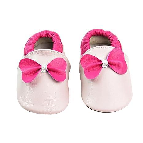 6e9d2aec43d46 Vesi-Chaussures Bébé Cuir Souple Chaussons Premiers Pas Respirant pour  Garçon Fille Nourrisson Efant Rose