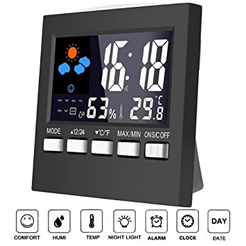 Termómetro Humedad Monitor, Colorful LCD Protector de pantalla digital Termómetro Medidor de humedad con alarma