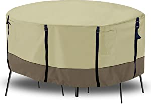 Ogrmar Patio Furniture Cover, Round Outdoor Waterproof & UV Resistant Table Set Cover,Beige and Brown (96 x 27.5 inch)