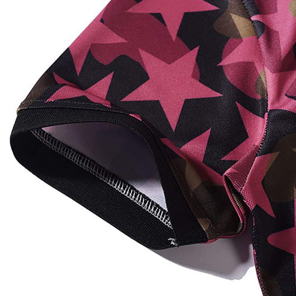 DishyKooker Men Stylish Star 3D Printed Short Sleeve Casual Shirt