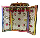 Vrindavan Bazaar Phool Bangla with artifical flower decorations for your home temple (Small)