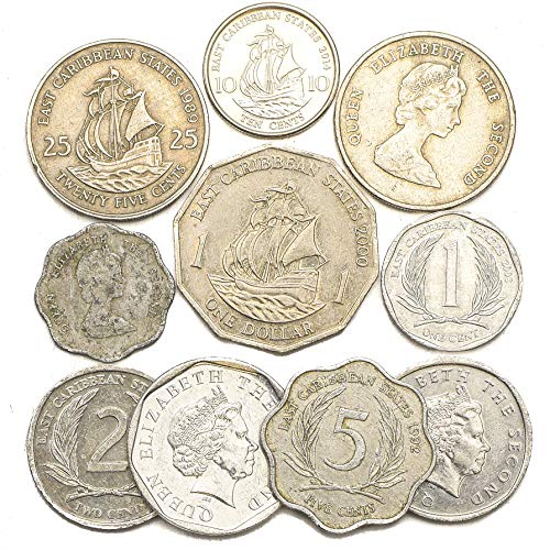 10 Old Coins from East Caribbean States (OECS). Collectible Coins Dollar, Cents. Perfect Choice for Your Coin Bank, Coin Holders and Coin Album