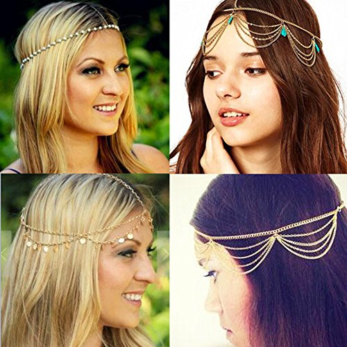 MineSign Headbands Jewelry Head Chain Boho Hair accessories Turquoise Pearl Headpiece for Women Girls 4 Pack