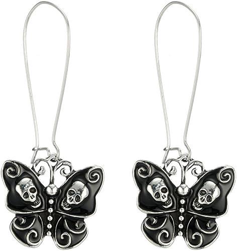 Women Black Leather Butterfly Rhinestone Dangle Goth Stone Drop Earrings Vintage