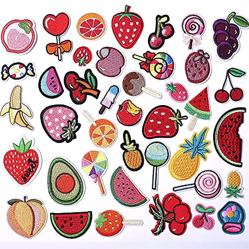 AXEN 40PCS Fruit Embroidered Iron on Patches DIY Accessories, Assorted Fruit Decorative Patches, Cute Sewing Applique for Jackets, Hats, Backpacks, Jeans