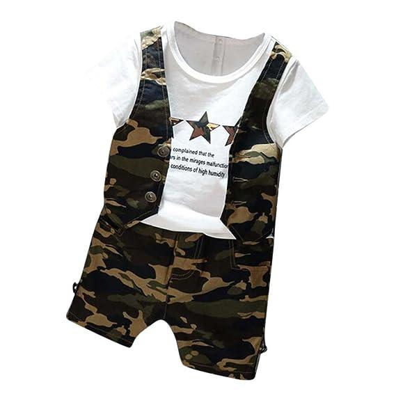 ropa ninos, Switchali 1 set Infantil Bebé Niño verano moda camuflaje camiseta linda manga corta