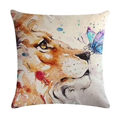 7COLORROOM Watercolor Lion and Butterfly Throw Pillow Covers Square Pillowcase Animal Cushion Covers 18X 18 Inch Hidden Zipper Home Cushion Decorative Pillowcases (Lion)