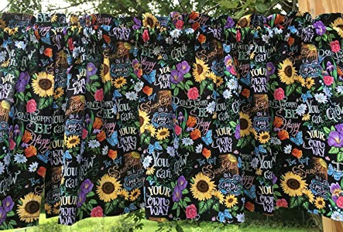 Wildflower Garden Sunflower Daisy Butterfly Floral Field Flowers Colorful Black Curtain Valance t1-14 (Fields Floral Valance)