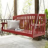 Porch Swing for 2 Patio Outdoor Yard Garden Seating, Wooden Curved Back, Red Finish (5 ft)