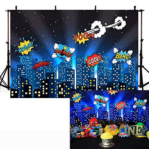 COMOPHOTO Superhero Theme Photography Backdrop City Night Scene Photo Backdrops 7x5ft Birthday Party Decoration Background for Pictures -
