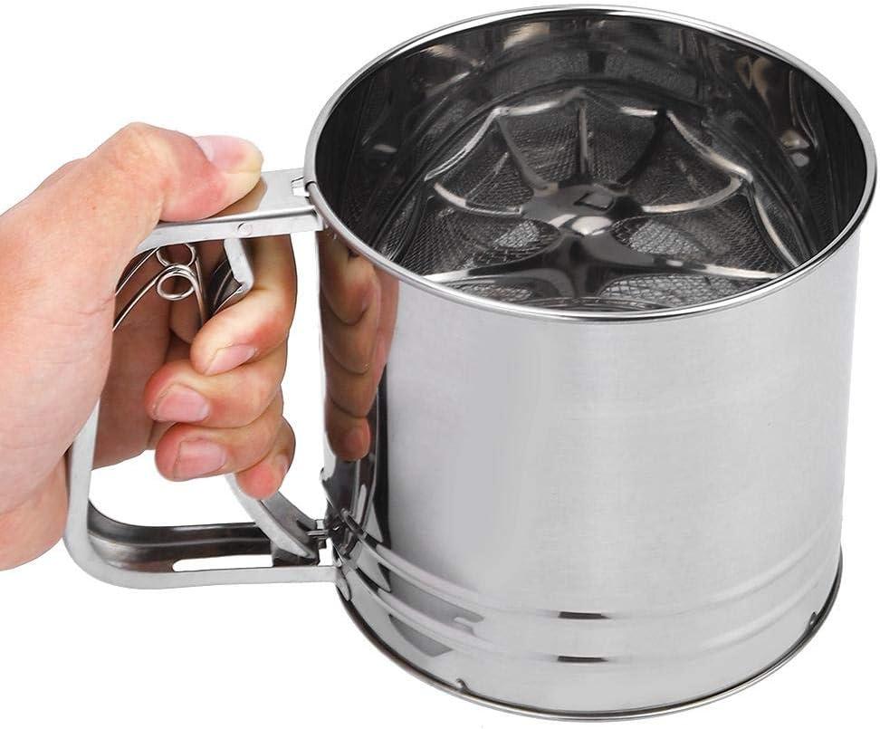 tamiz de harina multifuncional port/átil de doble capa para utensilios de cocina Filtro de l/ínea tamiz de mano plateado para panader/ía y uso dom/éstico