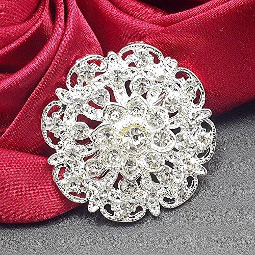 Mutian Fashion Lot 24pc Clear Rhinestone Crystal Flower Brooches Pins Set DIY Wedding Bouquet Broaches Kit by Mutian Fashion (Image #6)