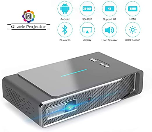 LED Video Projector, 3D DLP Android Smart Projector 3800 Lumens ...