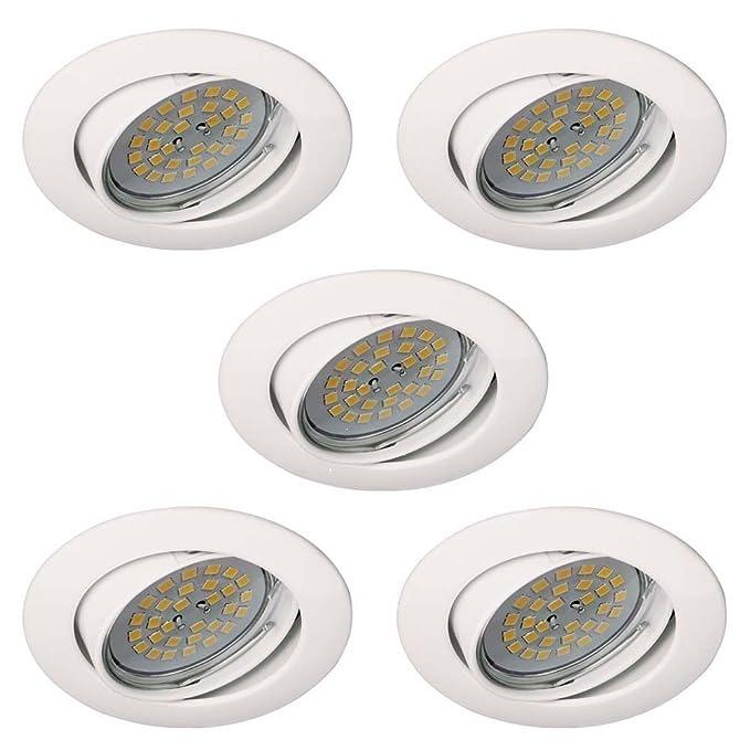 Wonderlamp Basic W-E000104 Pack de Focos Empotrables Redondos con Portalámparas GU10, Blanco, 8.5 x 1.5 cm, 5 Unidades: Amazon.es: Iluminación