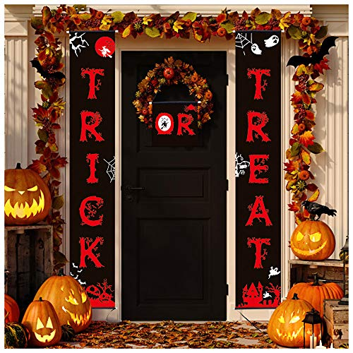 Diy Halloween Porch Decorations (Halloween Outdoor Decorations 3 Pack Trick or Treat Banner Porch Sign Garland Home Door Sign Halloween Party Decoration for Home Office Outdoor Halloween Decor Ready to Welcome)