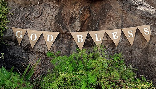 GOD BLESS Banner-God Bless Baptism Décor- Christening Religious Banner-Rustic First Communion Burlap-Elegant chic God Bless Bunting Burlap (Halloween Joke Pics)