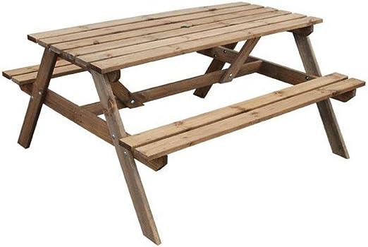 Mesa de picnic con bancos (madera tratada a presión): Amazon.es: Hogar