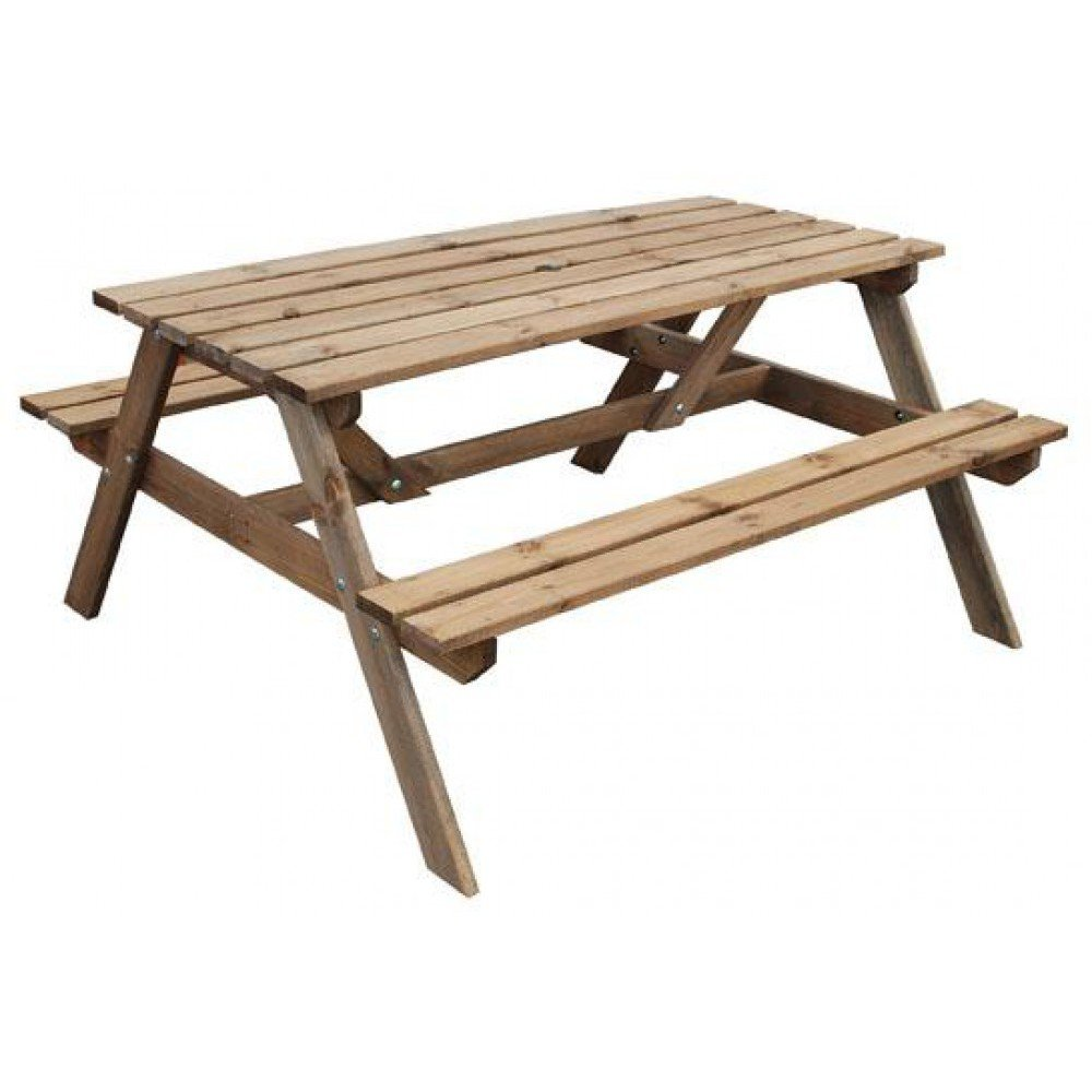 table with bench picnic detached benches sleek id