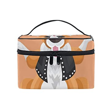 1135c42cc3 Amazon.com   Makeup Organizer Kangaroo In Studded Outfit On Peach  Background Womens Zip Toiletry Bag Large Case Cosmetic Bags   Beauty