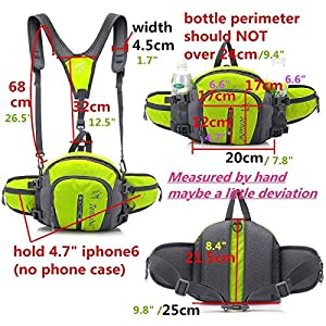 Multifunctional Waterproof Outdoor Waist Pack Backpack Shoulder Bag Daypack with Water Bottle Pockets Waist Bag Fanny Pack for Running Hiking Camping Cycling Traveling (Purple-1)