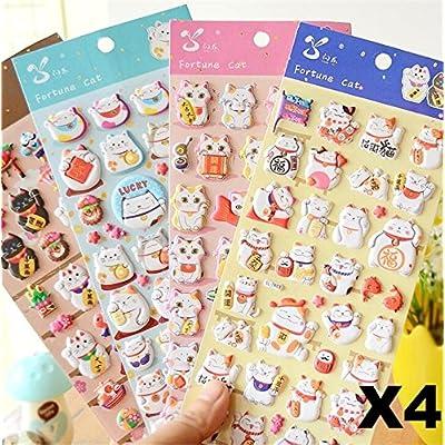 Cat Fan related Products EatingBiting 4 Sheets More Than 140pcs Japanese Maneki Neko Foam... [tag]