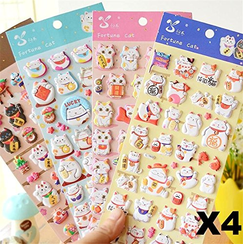 EatingBiting(R)4 Sheets More Than 140pcs Japanese Maneki Neko Foam Stickers Lucky Fortune Fengshui Stickers Diary Scrap Book Scrapbooking Decor Decoration School Office Stationery Reward -