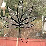 Clear Iridescent Stained Glass Hemp Leaf, Pot Leaf, Sun Catcher, Marijuana Leaf,