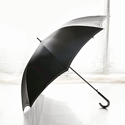 Breve manija larga paraguas estilo británico Palo paraguas Vintage (Color : Negro)