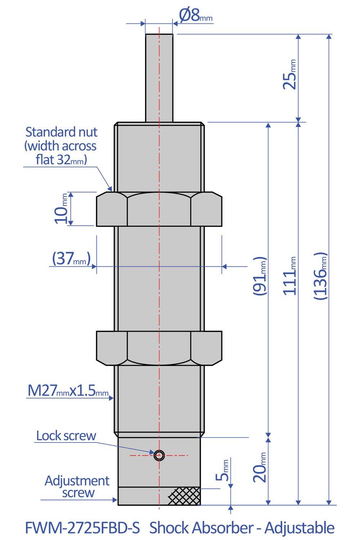 156 mm x 37 mm x 32 mm Bansbach Easylift FWM-2725FBD-C Shock Absorbers//Adjustable