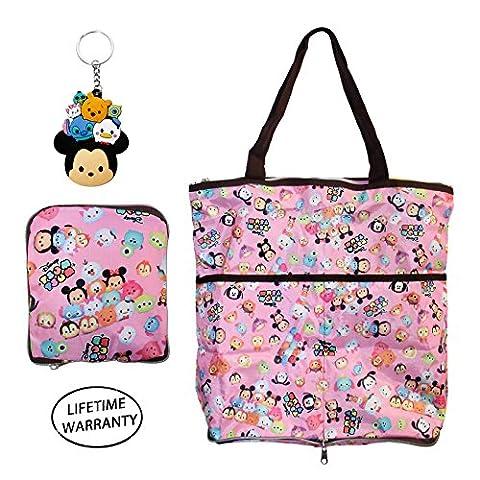 DIYJewelryDepot Foldable Shopping Bags Reusable Extra Large Grocery Bag w/ Zipper + Keychain (Tsum Tsum Hot (Disney Pin Grab Bag)