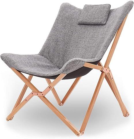 QIDI Silla Plegable para jardín/Patio/Camping/Playa Sillón reclinable portátil para sofá con cojín de Madera Silla Perezosa Relajante - 72 x 78 x 95 cm (Color : Light Gray): Amazon.es: Hogar