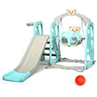 Costzon 4 in 1 Toddler Climber and Swing Set, Kids Play Climber Slide Playset with Basketball Hoop, Extra Long Slide and Ball, Easy Set Up Baby Playset for Indoor Outdoor Backyard (Green Bear)