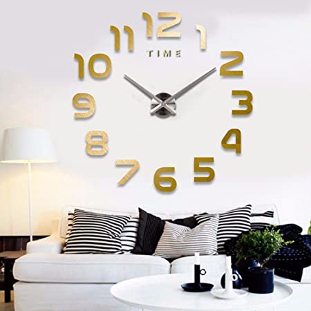Lzzfw digital 3d acrylic mirror diy wall stickers clock stickers gold