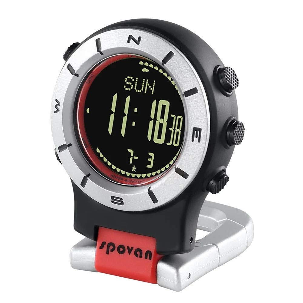 SPOVAN Smartwatch Höhenmesser-Barometer-Kompass-LED-Clipuhren Sportuhren Angeln Wandern Klettern Taschenuhr,A