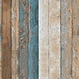 HaokHome 208 Vintage Wood Wallpaper Rolls Turquoise Blue/Sand/Brown Wooden Plank Murals Home Kitchen Bathroom Decoration 20.8