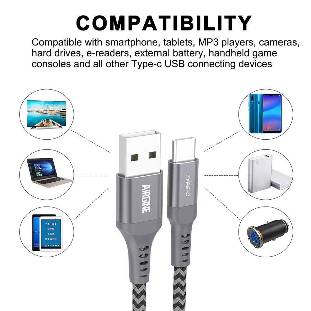 USB Type C Cable, AIRGINE Nylon Braided Fast Charging Cord (2Pack, 6.6ft, Grey) Compatible for Samsung Galaxy S9 Plus S8 Plus Note 9 and Other Type C Cable Design Devices