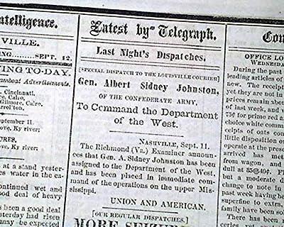 Rare PRO CONFEDERATE Louisville KY Kentucky 1861 Civil War in 1ST YEAR Newspaper LOUISVILLE DAILY COURIER, Kentucky, Sept. 12, 1861