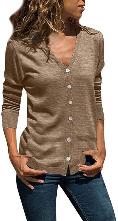 Botón de Manga Larga de Color sólido para Mujer Camisa con Cuello en v Top Sudadera Camiseta Primavera Verano Manga Larga Camisa a Rayas Casual Elegantes Verano Oficina Raya Blusa Delgado: Amazon.es: