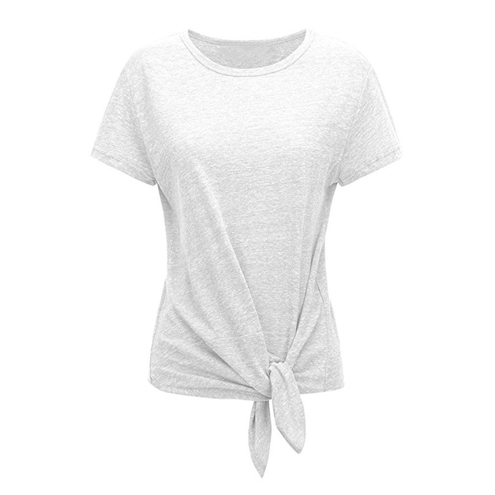 Sale! Women's Shirts Summer Casual Short Sleeved Solid Knotted O-Neck T-Shirt Blouse Tops White