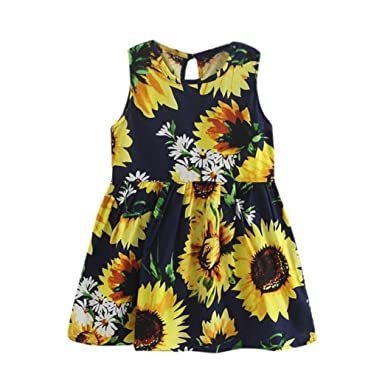 27cc3c5f0 Amazon.com: FDelinK Clearance! Toddler Baby Girl Sunflower Print Sleeveless Party  Dress Kids Sundress Summer Clothes: Clothing