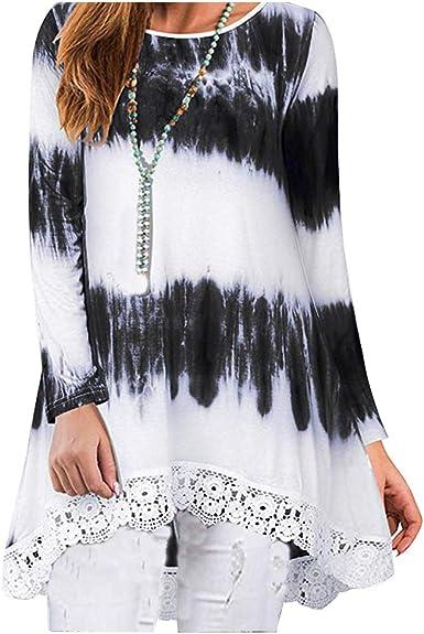 Landove Camiseta Asimetrica Mujer Blusa con Encaje Mini Vestido Degradado: Amazon.es: Ropa y accesorios