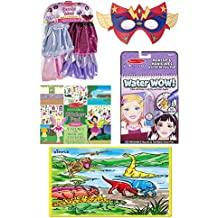 Dimple Jurassic Dinosaur Era and Melissa & Doug Goodie Tutus Dress-Up Set, Wow - Makeup and Manicures, Simply Crafty Superhero Masks and Cuffs, Reusable Fairies Sticker Pad Playsets