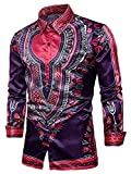 Yobecho Unisex African Bright Dashiki Cotton Shirt Variety Colors (XX-Large, Deep-Blue)
