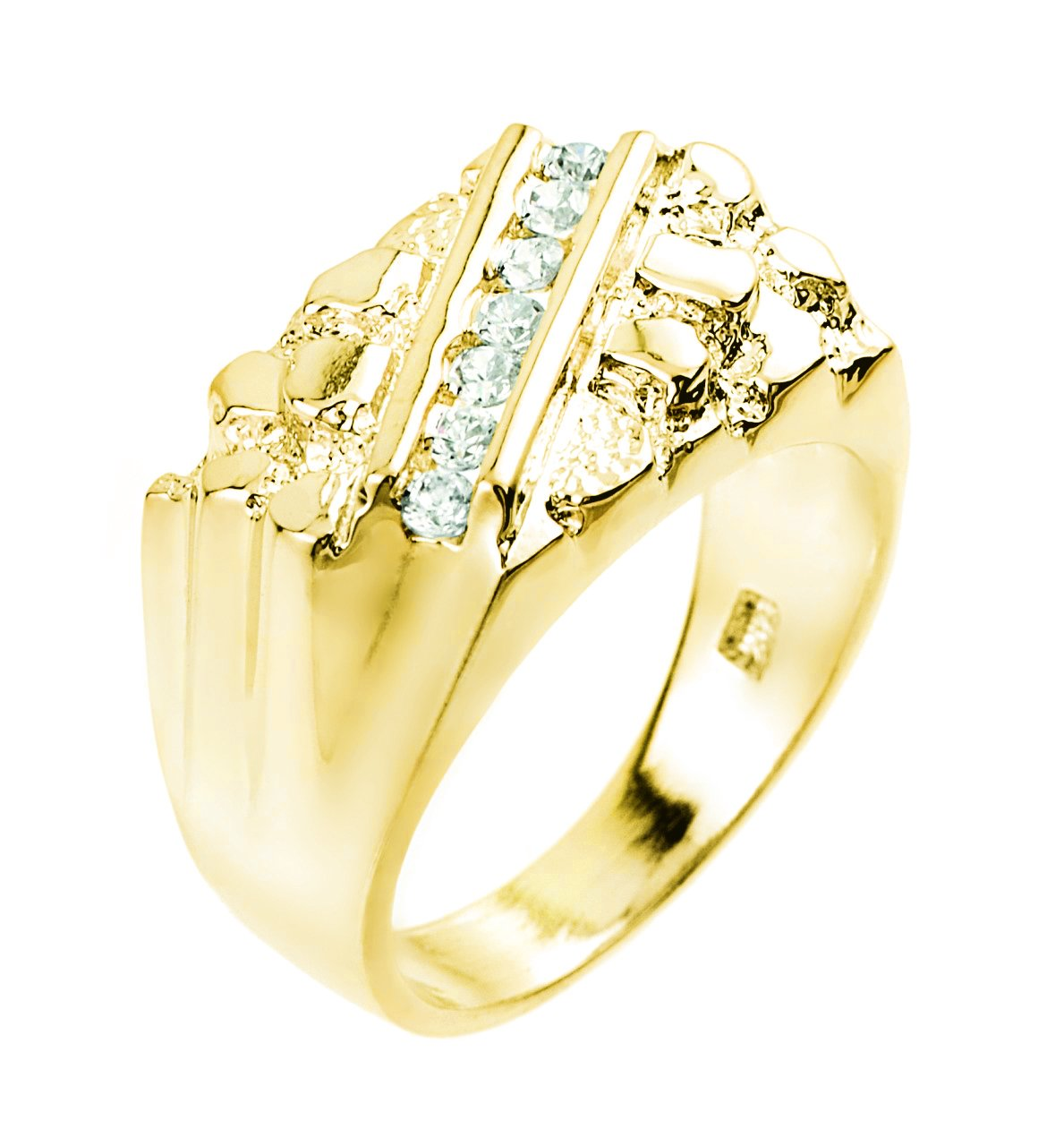 Fine 14k Yellow Gold Nugget Ring with Cubic Zirconias (Size 16)