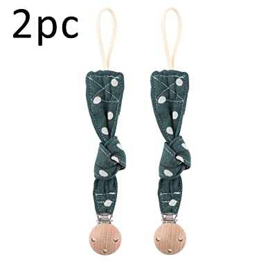 Biter teether 2pcs Dot Printed Universal Pacifier Holder with Wooden Round Head Clip Super Soft Cotton Strap Smooth Clip Handmade Baby Teething Accessory DIY Jewelry for Newborn : Baby [5Bkhe0304778]