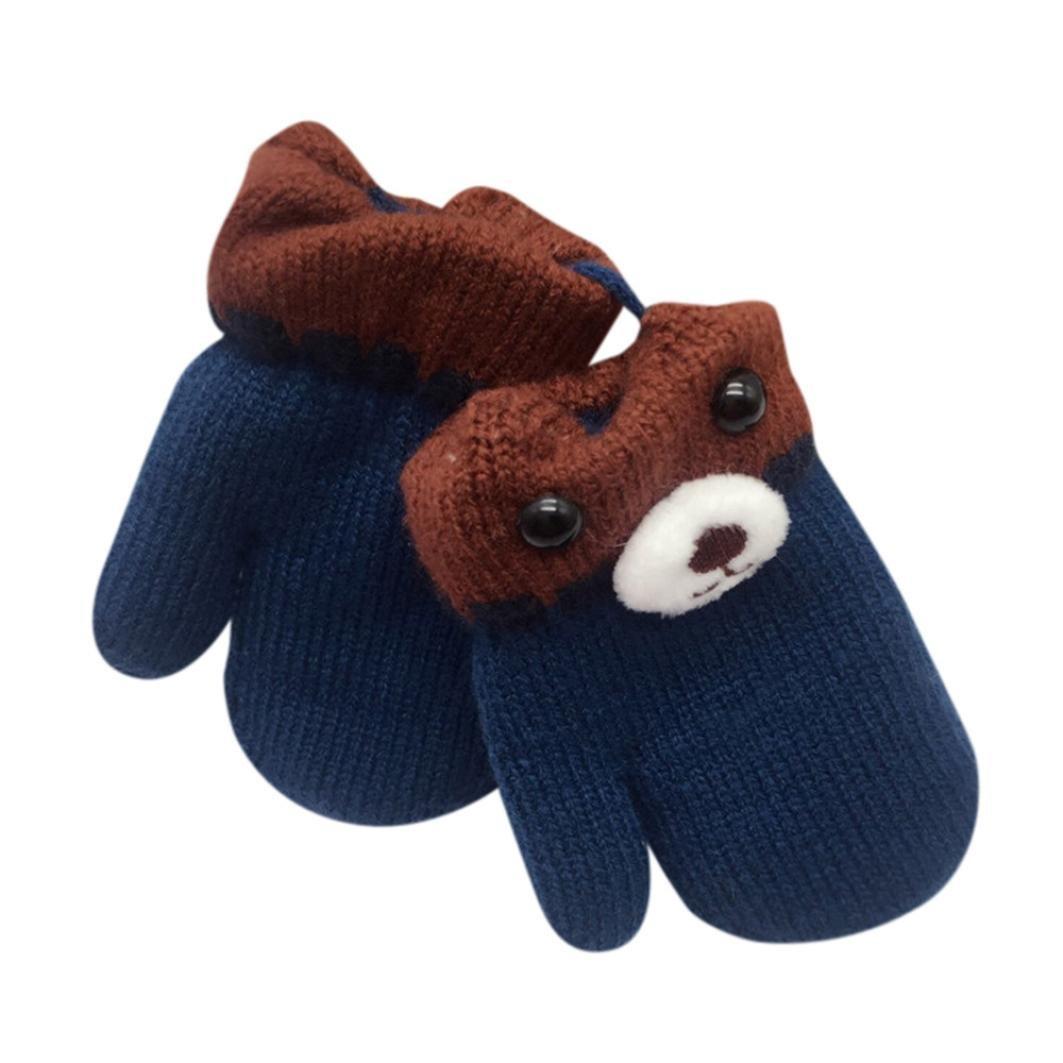 Baby Boy Girls Warm knitting Gloves Muium Leaf Winter Thicken Cartoon Mittens For Kids Of 1-6 Years Old