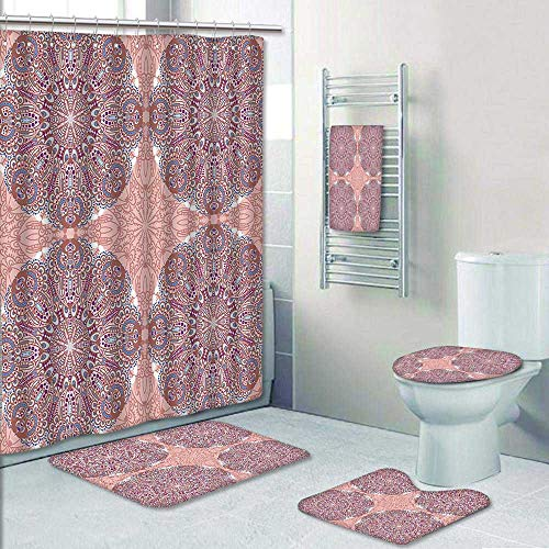 5-Piece Bathroom Set- Arabesque Round Patterns in Oriental Islamic Eastern Persian Religious Motif Artprint Prints Decorate The Bath,1-Shower Curtain,3-Mats,1-Bath Towel by AmaPark