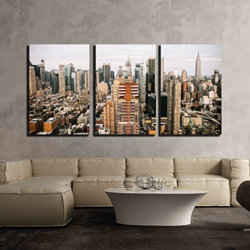 wall26-3 Piece Canvas Wall Art - Skyline View of City Buildings - Modern Home Decor Stretched and Framed Ready to Hang - 16